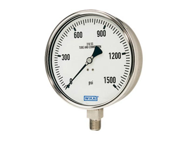 Wika 50094831 Industrial Dry Pressure Gauge Model 232.50 4 Inch Dial 1 BAR 1/2 NPT Lower Mount Stainless Steel Case