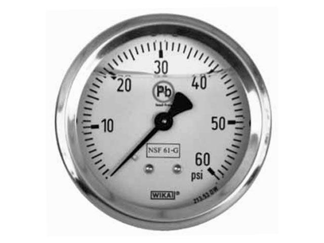 Wika 50380621 Industrial Liquid-filled Pressure Gauge Model 213.53 2-1/2 Dial 1500 PSI G1/4B Lower Mount Stainless Steel Case