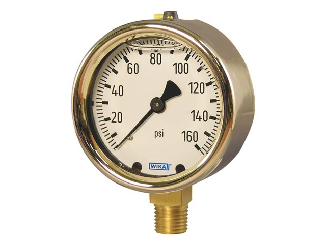 Wika 9310797 Industrial Liquid-filled Pressure Gauge Model 213.40 2-1/2 Dial 2000 PSI 1/4 NPT Lower Mount Forged Brass Case