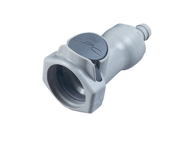 CPC Colder Products HFCD17612 3/8 Hose Barb Valved In-Line Coupling Body