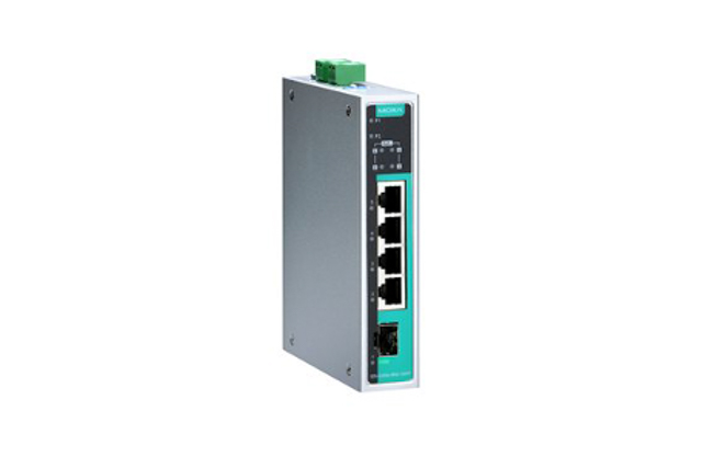 Moxa EDS-G205A-4PoE-1GSFP-T 5-port full Gigabit unmanaged Ethernet switches with 4 IEEE 802.3af/at PoE+ ports