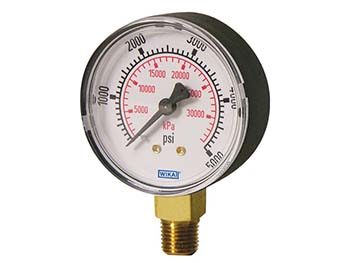 Wika 4253221 Commercial General Purpose Dry Pressure Gauge Model 111.10 2-1/2 Dial 2000 PSI 1/4 NPT Lower Mount Black Plastic Case