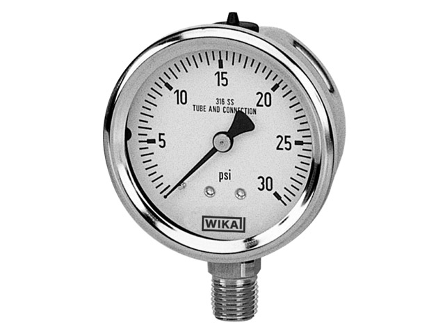 9768939 Wika 9768939 Industrial Liquid-filled Pressure Gauge Model 213.53 2-1/2 Dial 2000 PSI 1/4 NPT Center Back Mount Stainless Steel Case