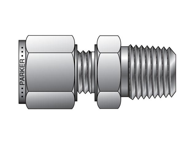 M msc n a lok metric tube npt male connector