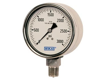 50127314 Wika 50127314 Industrial XSEL® Process Liquid-filled Pressure Gauge Model 233.34 4-1/2 Dial 10000 PSI 1/2 NPT Lower Mount Black Thermoplastic Case