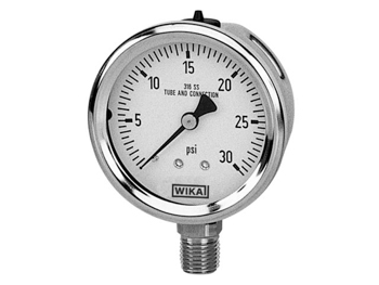 50742621 Wika 50742621 Industrial Dry Pressure Gauge Model 232.53 2-1/2 Dial 200 PSI 1/4 NPT Center Back Mount Stainless Steel Case
