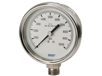 9832942 Wika 9832942 Industrial Liquid-filled Pressure Gauge Model 233.54 4 Inch Dial 2000 PSI 1/2 NPT Lower Back Mount Stainless Steel Case
